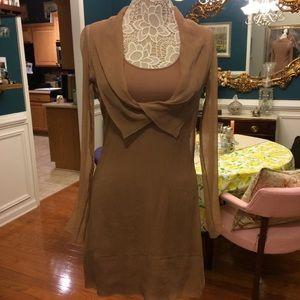 Camel long sleeve shear dress with under dress